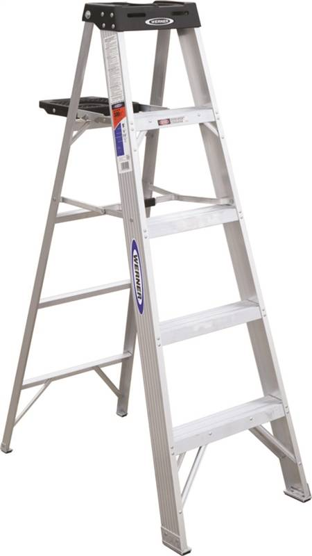 Werner 375 Single Sided Step Ladder With Pail Shelf 300