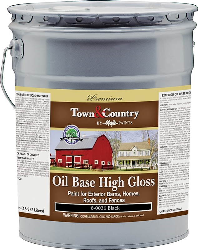 Majic Town Country 8 0036 Oil Based Exterior Paint 5 Gal Pail 300 Sq Ft Gal Black