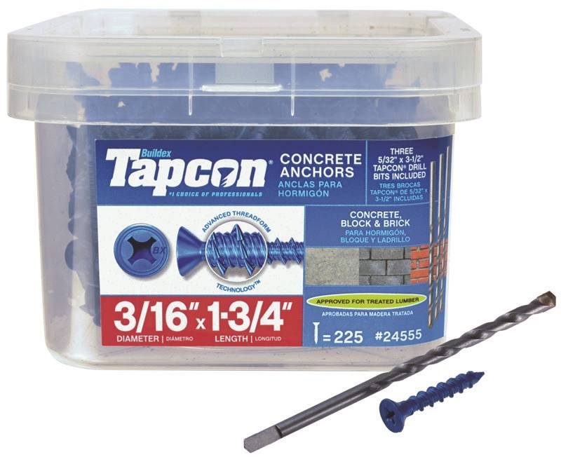 """3//16/""""x2-3//4/"""" Concrete//Masonry Screw Anchors *LGR QTY IN OUR STORE* 50 Tapcon"""