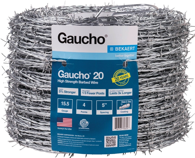 Gaucho 118293 4-Point Barbed Wire, 1320 ft L, 5 in Barb, High ...