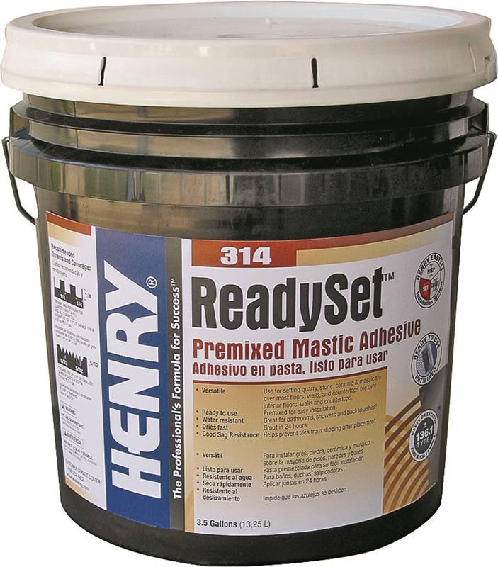 henry fp0rset063 pre mixed mastic adhesive 3 5 gal pail off white paste. Black Bedroom Furniture Sets. Home Design Ideas