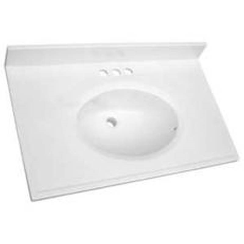Luxo Marbre POVA3119-4-S Vanity Top, 31 In L X 19 In W, Culture Marble,  Solid White