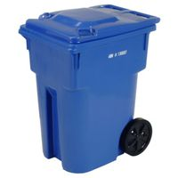 CAN GARBAGE W/WHL 95GAL BLU