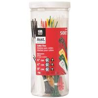 CABLETIES ASST COLOR 500PIECES
