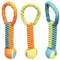 TOY PET TUG NYLON TENNISBALL