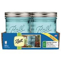 JAR WIDE MOUTH BLUE PINT 4PK