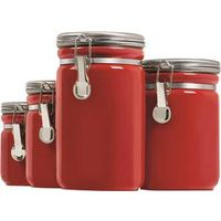 CANISTER RED CERAMIC 4PC