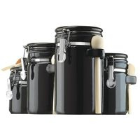 CANISTER BLACK CERAMIC 4PC