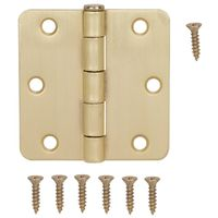 HINGE DR 1/4RD 3X3IN SAT BRASS