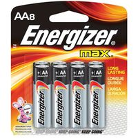 BATTERY MAX AA ALKALINE 8/PK