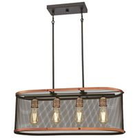 CHANDELIER WSHD COPPER&ORB 4LT