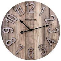 CLOCK WALL ANALOG WOOD 15.5IN