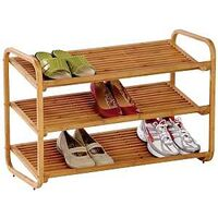 SHELF SHOE 3TIER DELUXE BAMBOO