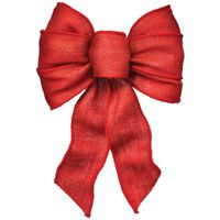 BOW 7 LOOP WIRED RED BURLAP