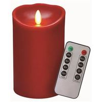 CANDLE RED WAX FLAME REMOTE 5H