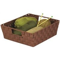 TRAY WOVEN W/HANDLE BROWN