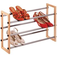 RACK SHOE 3-TIER WOOD/METAL