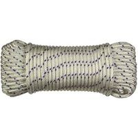 ROPE BRAID 1/4INX100FT WHT/BLU