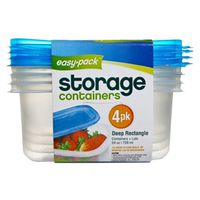 CONTS & LIDS RECT 4PK 28 OZ