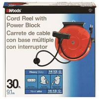 Coleman 48006 3 Outlet Power Cord Reel 30 ft L Reel
