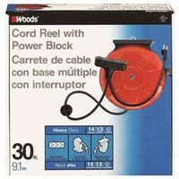 Coleman 48006 3 Outlet Power Cord Reel 30 ft L Reel