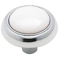 KNOB 1-3/16IN WHITE/POL CHROME