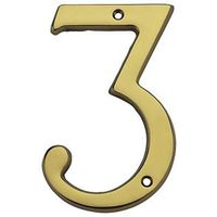 HOUSE NUMBER NO3 SLD BRASS 6IN