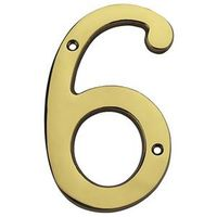 HOUSE NUMBER NO6 SLD BRASS 6IN
