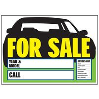 SIGN CAR FOR SALE PLSTC 9X14IN