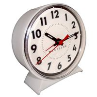 CLOCK ALARM DIAL KEYWOUND WHT