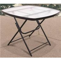 CHAT TABLE FOLDING GLASS 36 IN