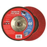 FLAP DISC 7IN STEEL 60G W/HUB