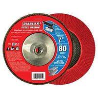 FLAP DISC 7IN STEEL 80G W/HUB