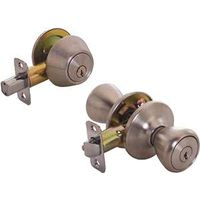 Toolbasix 5764+D101SS-BP Tulip Single Cylinder Deadbolt Knob Lockset
