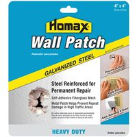 Homax 5504 Heavy Duty Wall Patch, 4 in W x 4 in L, Steel, Reinforced Fiberglass Mesh