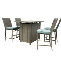 BAR SET W/4 WICKER CHR-FR TBL