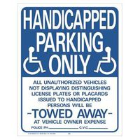 SIGN HANDICAPPED PARKING 19X15
