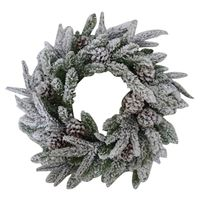 WREATH FLCKD W/CONES 24IN