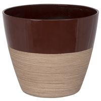 PLANTER RESIN RND RED/WD 8IN