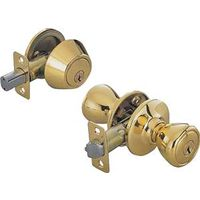 Toolbasix 5764+D101PB-BP3L Tulip Single Cylinder Deadbolt Knob Lockset