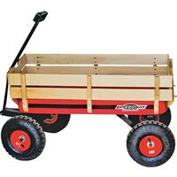 WAGON TOY BIG RED W/WOOD PANEL