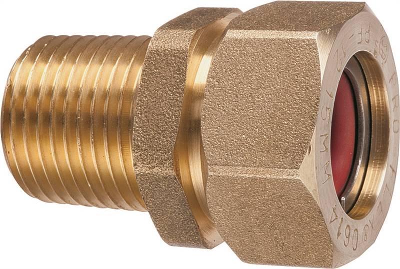 Pro-Flex PFMF-1212 Tube To Pipe Adapter, 1/2 in, CSST X MNPT, Brass