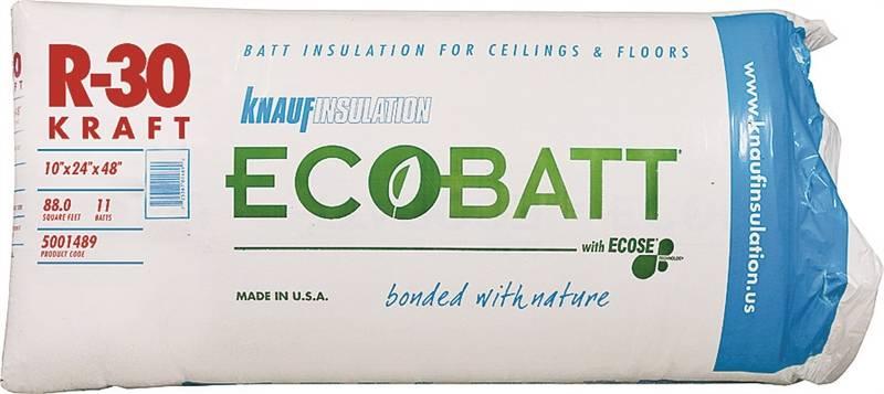 Ecobatt b17e kraft faced fiberglass insulation 24 in w x for R30 insulation dimensions