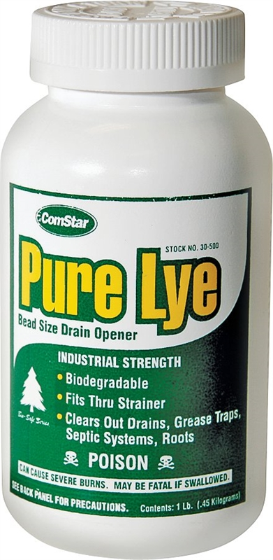 Pure Lye 30 500 Drain Opener 1 Lb Clear White Solid