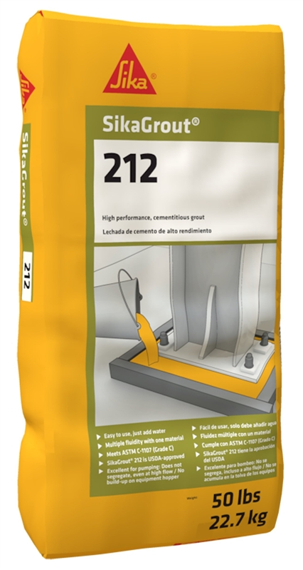 Sika 212 Non-Shrink Cement/Structural Grout, 50 lb, Bag, Gray