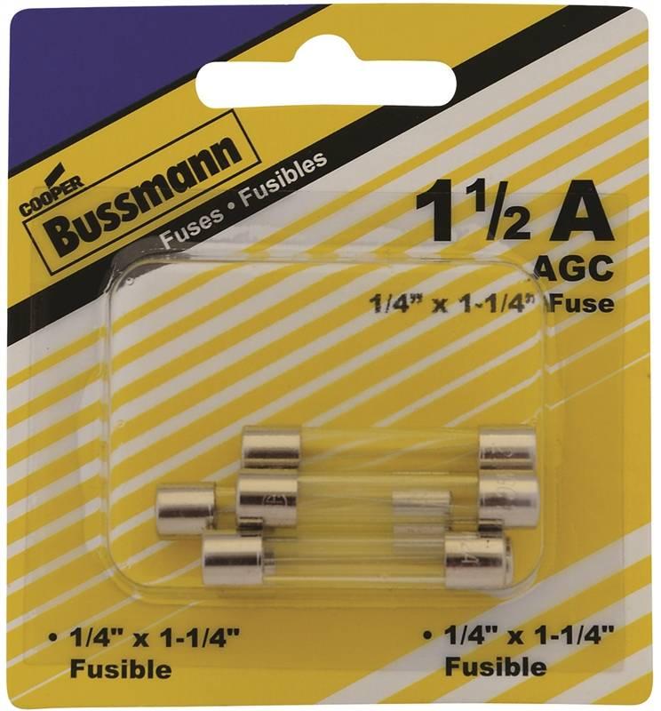 Bussmann BP/AGC-1-1/2-RP Automotive Fuses, Glass Tube, 1-1/2 Amp