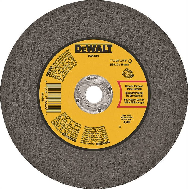 Dewalt Dwa3501 Type 1 Cut Off Wheel 7 In Dia X 1 8 In T