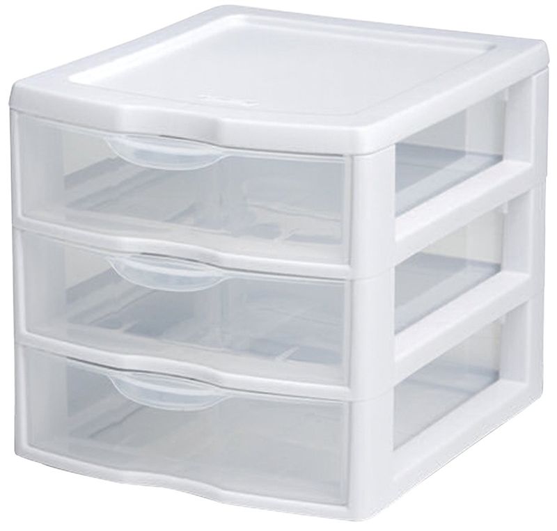 Clear 3-Drawer Plastic Drawer Sterilite 20738006 Drawer Unit
