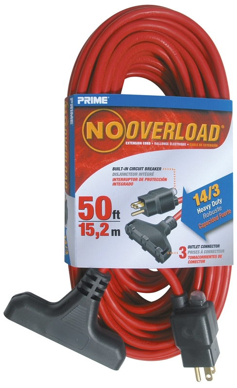 39 Red Triple Tap Extension Cord With Circuit Breaker Plug 14 3 Sjtw