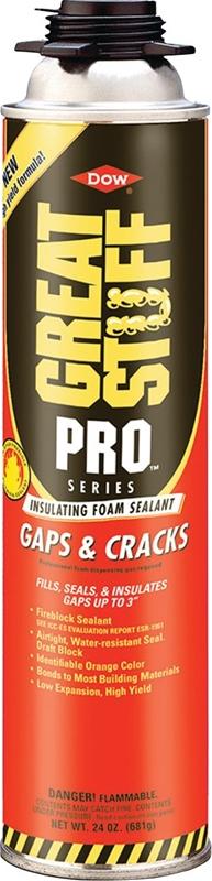 Great Stuff Pro Gun Gaps and Cracks Insulating Foam Sealant, 24 oz, Can,  Orange, Foam